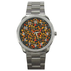 Pattern Background Ethnic Tribal Sport Metal Watch by Nexatart
