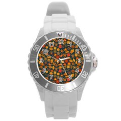 Pattern Background Ethnic Tribal Round Plastic Sport Watch (l) by Nexatart