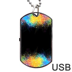 Frame Border Feathery Blurs Design Dog Tag Usb Flash (two Sides) by Nexatart