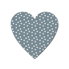 Floral Dots Blue Heart Magnet by snowwhitegirl