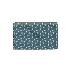 Floral Dots Blue Cosmetic Bag (small)  by snowwhitegirl