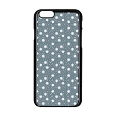 Floral Dots Blue Apple Iphone 6/6s Black Enamel Case by snowwhitegirl