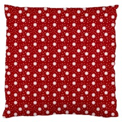 Floral Dots Red Large Flano Cushion Case (two Sides)