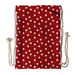 Floral Dots Red Drawstring Bag (large) by snowwhitegirl