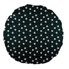 Floral Dots Teal Large 18  Premium Round Cushions