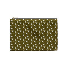 Floral Dots Brown Cosmetic Bag (medium)  by snowwhitegirl