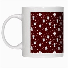 Floral Dots Maroon White Mugs