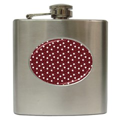 Floral Dots Maroon Hip Flask (6 Oz)