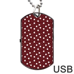 Floral Dots Maroon Dog Tag Usb Flash (two Sides) by snowwhitegirl