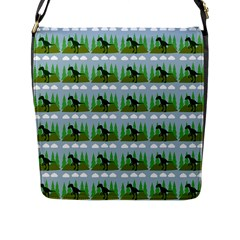 Dino In The Mountains Blue Flap Messenger Bag (l)  by snowwhitegirl