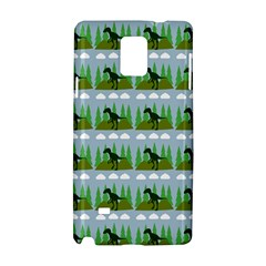 Dino In The Mountains Blue Samsung Galaxy Note 4 Hardshell Case by snowwhitegirl