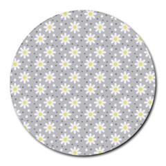 Daisy Dots Grey Round Mousepads
