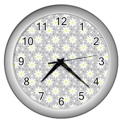 Daisy Dots Grey Wall Clocks (silver)  by snowwhitegirl
