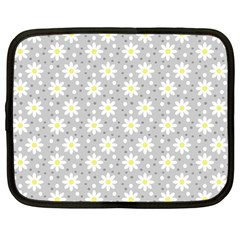 Daisy Dots Grey Netbook Case (large) by snowwhitegirl