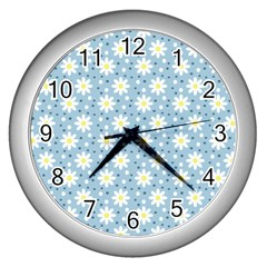 Daisy Dots Light Blue Wall Clocks (silver)  by snowwhitegirl