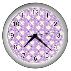 Daisy Dots Lilac Wall Clocks (silver)  by snowwhitegirl