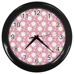 Daisy Dots Pink Wall Clocks (black) by snowwhitegirl