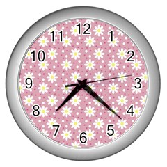 Daisy Dots Pink Wall Clocks (silver)  by snowwhitegirl