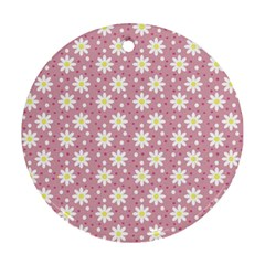 Daisy Dots Pink Round Ornament (two Sides) by snowwhitegirl