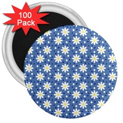 Daisy Dots Blue 3  Magnets (100 Pack) by snowwhitegirl