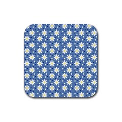 Daisy Dots Blue Rubber Coaster (square)  by snowwhitegirl