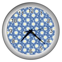 Daisy Dots Blue Wall Clocks (silver)  by snowwhitegirl