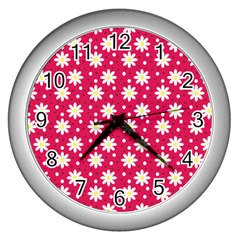 Daisy Dots Light Red Wall Clocks (silver)  by snowwhitegirl