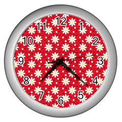 Daisy Dots Red Wall Clocks (silver)  by snowwhitegirl