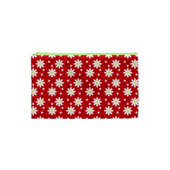 Daisy Dots Red Cosmetic Bag (xs) by snowwhitegirl