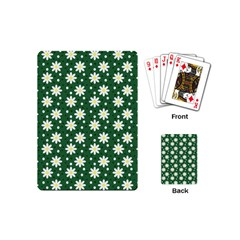 Daisy Dots Green Playing Cards (mini)  by snowwhitegirl