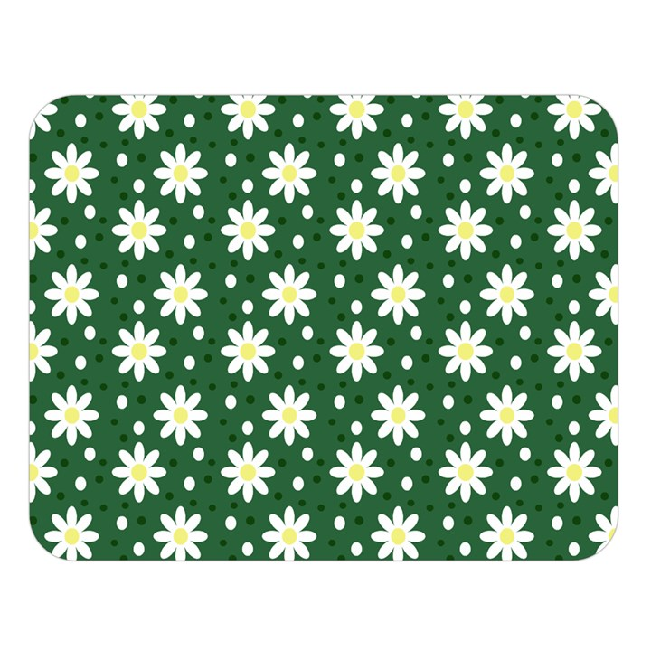 Daisy Dots Green Double Sided Flano Blanket (Large)