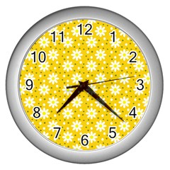 Daisy Dots Yellow Wall Clocks (silver)  by snowwhitegirl