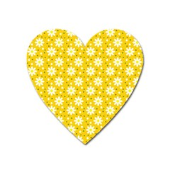 Daisy Dots Yellow Heart Magnet by snowwhitegirl