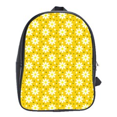 Daisy Dots Yellow School Bag (xl) by snowwhitegirl
