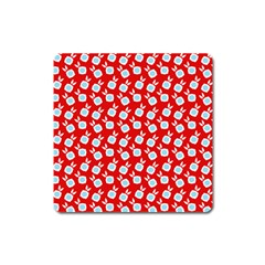 Square Flowers Red Square Magnet by snowwhitegirl