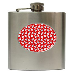 Square Flowers Red Hip Flask (6 Oz) by snowwhitegirl