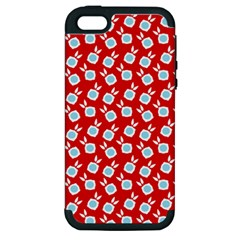 Square Flowers Red Apple Iphone 5 Hardshell Case (pc+silicone) by snowwhitegirl