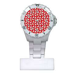 Square Flowers Red Plastic Nurses Watch by snowwhitegirl
