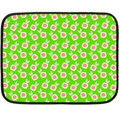 Square Flowers Green Fleece Blanket (mini) by snowwhitegirl