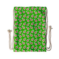 Square Flowers Green Drawstring Bag (small) by snowwhitegirl