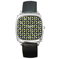 Square Flowers Navy Blue Square Metal Watch by snowwhitegirl