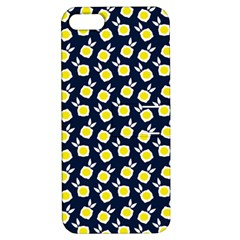 Square Flowers Navy Blue Apple Iphone 5 Hardshell Case With Stand by snowwhitegirl