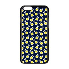 Square Flowers Navy Blue Apple Iphone 6/6s Black Enamel Case by snowwhitegirl