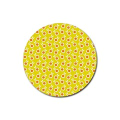 Square Flowers Yellow Rubber Coaster (round)