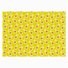 Square Flowers Yellow Large Glasses Cloth