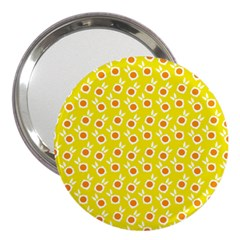 Square Flowers Yellow 3  Handbag Mirrors by snowwhitegirl