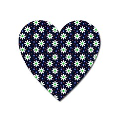 Daisy Dots Navy Blue Heart Magnet by snowwhitegirl