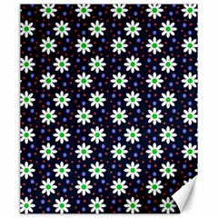 Daisy Dots Navy Blue Canvas 20  X 24   by snowwhitegirl