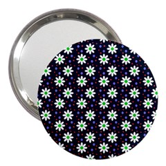 Daisy Dots Navy Blue 3  Handbag Mirrors by snowwhitegirl