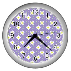 Daisy Dots Violet Wall Clocks (silver)  by snowwhitegirl